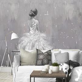 Non-woven Fabrics Waterproof Simple Girl Design Environment Friendly 3D Wall Murals/Wallpaper