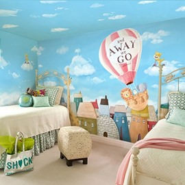 City Of Sky Non-woven Fabrics Waterproof Environment Friendly Kids Room Wall Mural