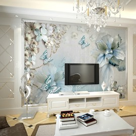 Waterproof Non-woven Fabrics Environment Friendly Blue Flower TV Background Wall Mural