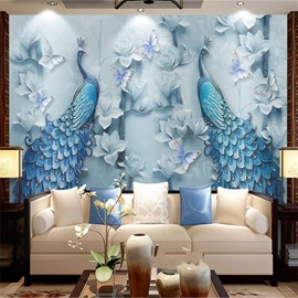 Non-woven Fabrics Environment Friendly Waterproof Peacock Dreamlike Wall Mural