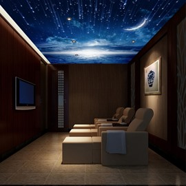 Environment Friendly Waterproof Non-woven Fabrics Starry Sky Dreamlike Wall Mural