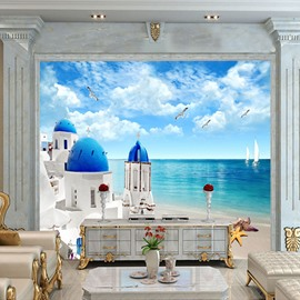 Waterproof Non-woven Fabrics Environment Friendly Romantic Greece Seaview House Wall Mural