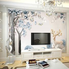 Environment Friendly Waterproof Non-woven Fabrics Dreamlike Deerlet Wall Mural