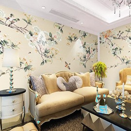 Birds Pattern Natural Style Non-woven Fabrics Environment Friendly Waterproof Wall Mural