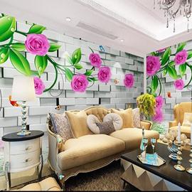 Non-woven Fabrics Environment Friendly Waterproof Flower Pattern Wall Mural