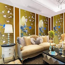 Non-woven Fabrics Environment Friendly Waterproof Classical Birds Pattern Wall Mural