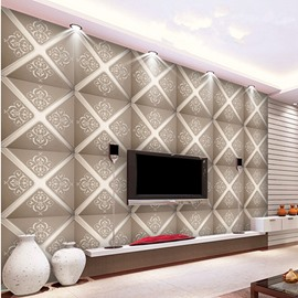 Elegant Design Grey Flower Plaid Pattern Living Room Decoration Wall Murals