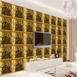 Luxury Golden Three-dimensional Plaid Pattern Home Decorative Wall Murals