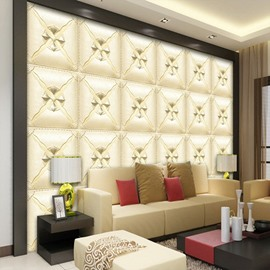 Charming Beige Three-dimensional Square Plaid Pattern Decorative Wall Murals