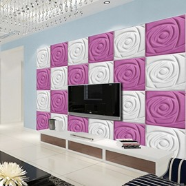 White and Pink Warm Three-dimensional Roses Square Plaid Design Wall Murals
