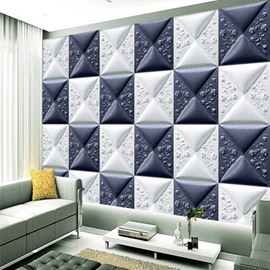 Blue and White Three-dimensional Square Plaid Pattern Home Decorative Wall Murals