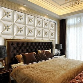 White Elegant Three-dimensional Square Plaid Design Decorative Wall Murals