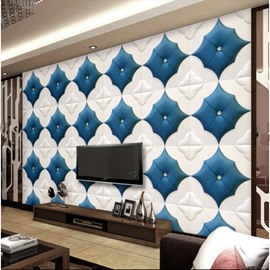 Fashion Creative White and Blue Plaid Pattern Decorative Wall Murals