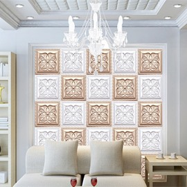 Fabulous White and Golden Flowers Plaid Home Decorative Wall Murals