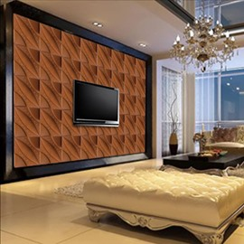 Simple Style Brown Plaid Pattern TV Background Decoration Wall Murals