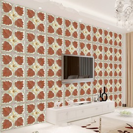Natural Creative Square Leaves Plaid Pattern Home Decorative Wall Murals