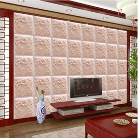 Pink Warm Three-dimensional Flower Plaid Pattern Home Decorative Wall Murals