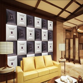 Blue and White Three-dimensional Square Plaid Pattern Living Room Decoration Wall Murals