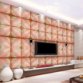 Lovely Pink Flower Plaid Pattern TV Background Decoration Wall Murals