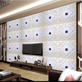 Elegant White Plaid with Beige Flower Decoration TV Background Wall Murals