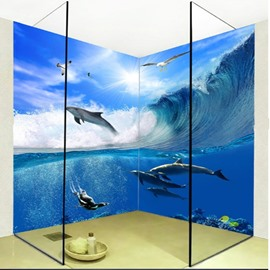 Blue Sea and Dolphins 3D Waterproof Bathroom Wall Murals