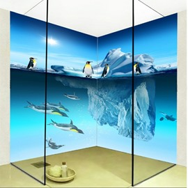 Cute Penguin Pattern Home Decorative Waterproof 3D Bathroom Wall Murals