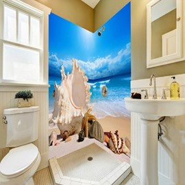 36 Seashells And Conches In The Seaside Pattern Waterproof 3D Bathroom Wall Murals