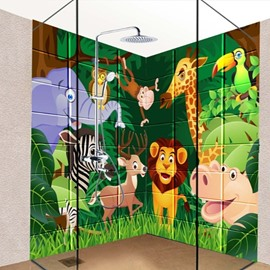 Cute Cartoon Animal in the Forest Pattern Waterproof 3D Bathroom Wall Murals