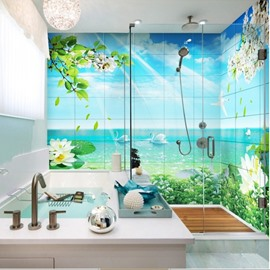 3D Swans in Green Lake Pattern PVC Waterproof Sturdy Self-Adhesive Bathroom Wall Murals