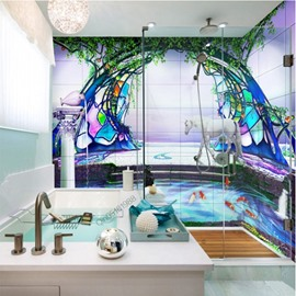 Amazing Goldfish and Horse Pond Scenery Waterproof 3D Bathroom Wall Murals