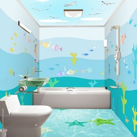 Cute Cartoon Fishes Pattern Waterproof 3D Bathroom Wall Murals