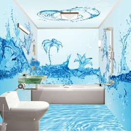 Creative Fresh Blue Water Flowers Pattern Waterproof 3D Bathroom Wall Murals