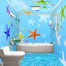 Sky Blue Simple Style Colorful Sea Starfish Pattern Waterproof 3D Bathroom Wall Murals