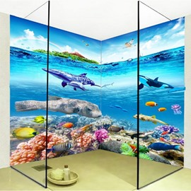 Fishes and Dolphins Waterproof Splicing 3D Bathroom Wall Murals