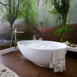 Red Grassland and Green Tree Pattern Waterproof 3D Bathroom Wall Murals