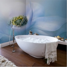 Elegant Blue Flower Pattern Decorative Waterproof 3D Bathroom Wall Murals