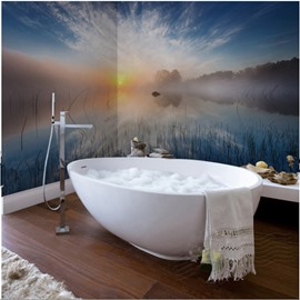 Sunset River Scenery Pattern Decorative Waterproof 3D Bathroom Wall Murals