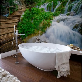 Amazing Bridge Over the Waterfall Scenery Waterproof 3D Bathroom Wall Murals