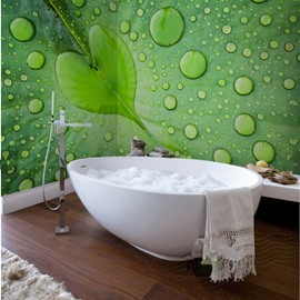 Green Water Drops on the Leaf Design Waterproof 3D Bathroom Wall Murals