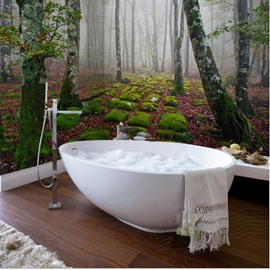 Awesome Vivid Forest Scenery Pattern Waterproof Splicing 3D Bathroom Wall Murals