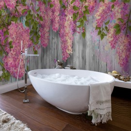 Creative Modern Design Vines Flowers Pattern Waterproof 3D Bathroom Wall Murals