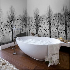 White and Black Birds and Trees Pattern Waterproof 3D Bathroom Wall Murals