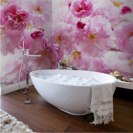 Warm Creative Design Pink Flowers Pattern Waterproof 3D Bathroom Wall Murals