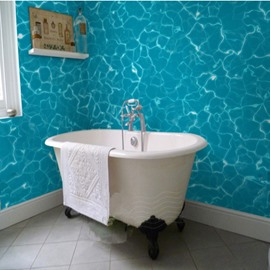 Blue Glistening Seawater Pattern Decorative Waterproof 3D Bathroom Wall Murals