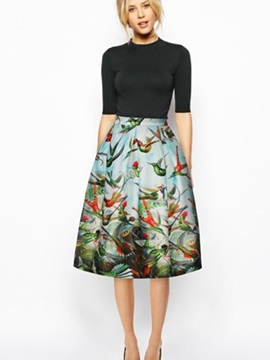 Bright Kinds of Birds Pattern 3D Painted Midi Skirt