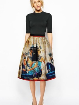 Fancy Ancient Egypt Pattern 3D Painted Midi Skirt