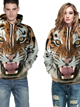 Fashion Long Sleeve Tiger Face Tooth Front Pocket Pattern 3D Painted Hoodie