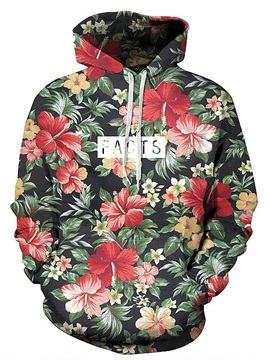 Pretty Long Sleeve Floral Pattern 3D Painted Hoodie