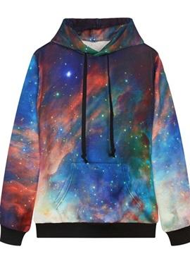 Long Sleeve DIY Galaxy Pattern Pocket 3D Painted Hoodie
