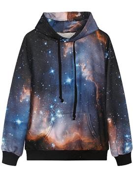 Long Sleeve Galaxy Pattern Pocket 3D Painted Hoodie